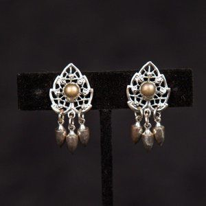 Vintage Screwback Pewter and Silver Dangle Earring